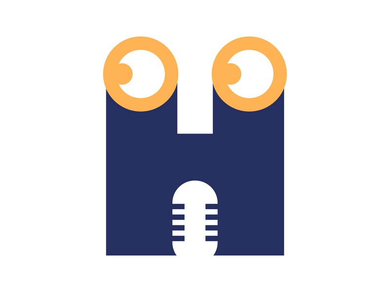 H Podcast identity alphabet letter mark design logo monogram podcast logo online eyes h letter logo microphone podcast