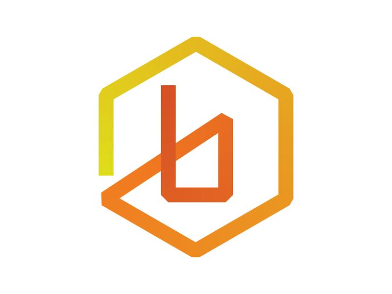 B Logo gradient icon symbol identity branding alphabet letter mark design monogram logo hexagon