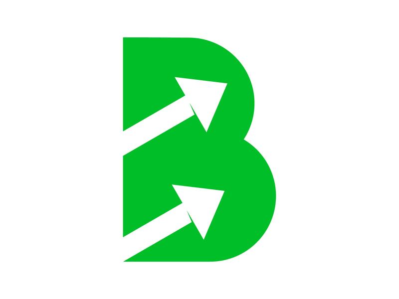 B Arrow arrow logo symbol identity branding mark letter alphabet design monogram logo arrow b
