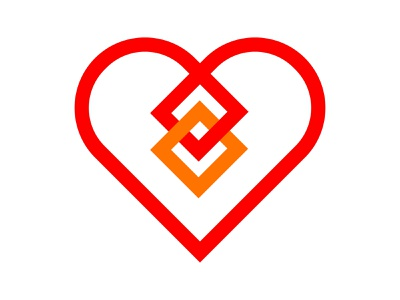 Heart minimalistic icon symbol identity branding mark design monogram logo heart logo xler8brain heart