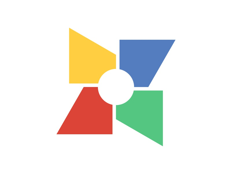 Windmill flat website web icon illustration mark design ux ui branding swatches geometric colour wheel fan colorful logo app monogram concept windmill logo logo