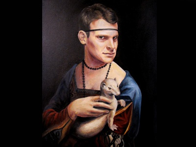 Daniel with an Ermine parody oil painting daniel tosh christie snelson tosh.0 ermine girl with an ermine painting oil on canvas