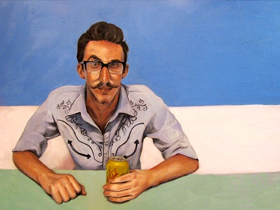 Squirt color painting fictional simple oil painting christie snelson portrait man character art minimal