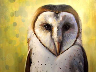 The Weary Watchman  color oil painting christie snelson owl barn owl green yellow minimal oil on canvas feathers painting