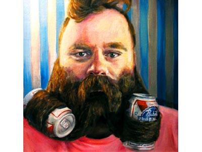 Beerd Me man beared beard beer christie snelson painting oil painting pabst blue ribbon