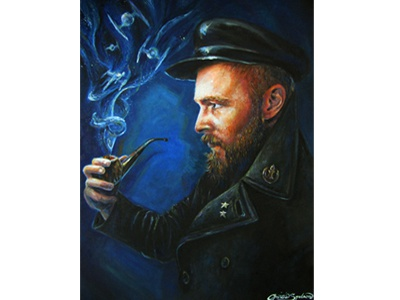 """""""Oh, Captain"""" smoke captain portrait oil on canvas star wars beard christie snelson oil painting color pipe"""