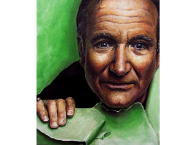 Robin Williams robbin williams portrait oil on canvas oil painting painting color christie snelson