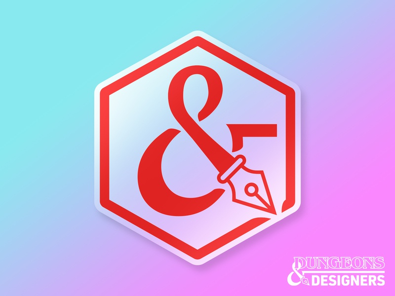 Dungeons & Designers Podcast Sticker branding vector illustration dnd d20 dice logo sticker podcast