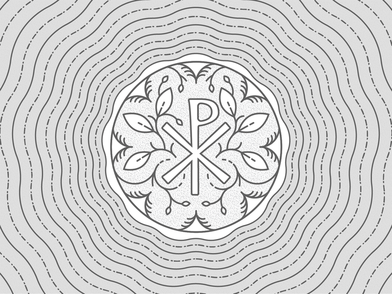 Chi Rho Coin leaves vector illsutration illustrator badge chirho church christian bible