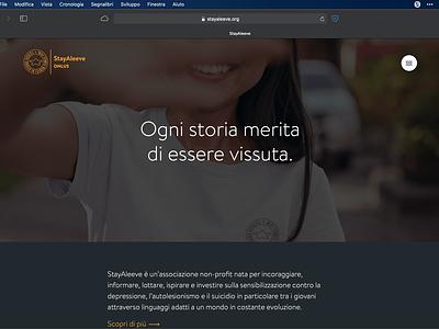 StayAleeve dark homepage dark mode design ui nonprofit website
