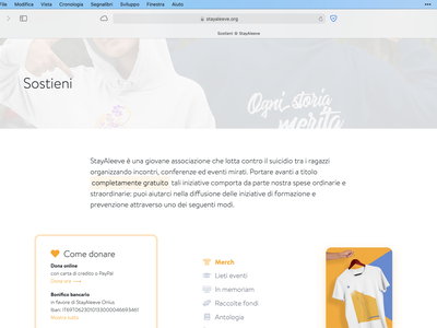 StayAleeve donate page support donate ui nonprofit website