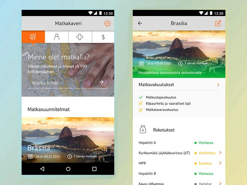 Travel Insurance app - Concept op helsinki ui concept