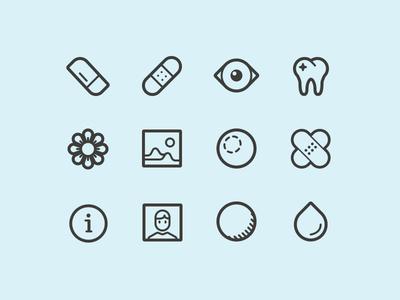 RL Icons icons bandaid eye teeth stroke thin pictogram