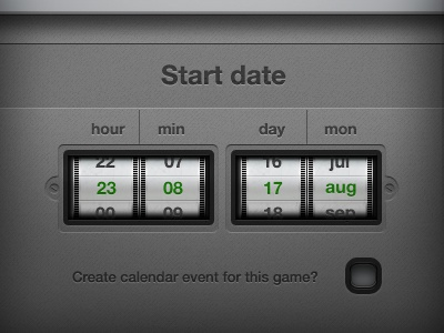 Date Scroll scroll checkbox photoshop user interface ui the lost years helvetica aluminium