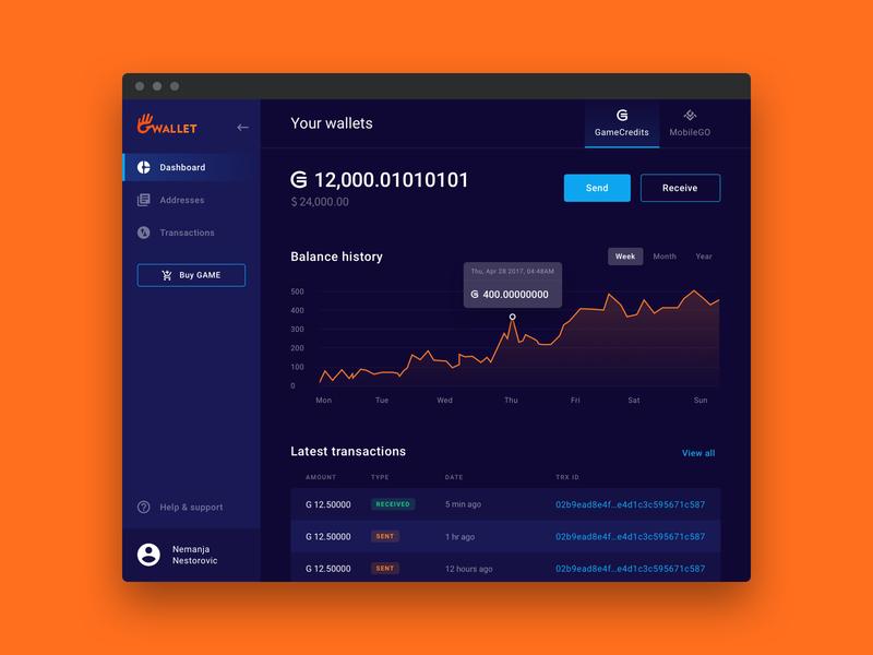 Gwallet - Web crypto wallet (Gamecredits) product design modern typogaphy color theory layout interface designer cryptocurrency crypto wallet gaming dark ui clean blockchain