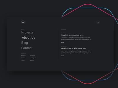 Navigation for madetight.com mega-menu clean sophisticated web design website navigation menu