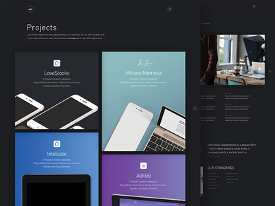 Project page web design user interface madetight minimal clean portfolio projects grid design ui
