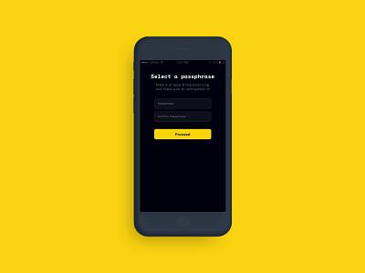 Lemon Mail - Sign up flow dark modern slick iphone app design email app blockchain ui design ios mobile app