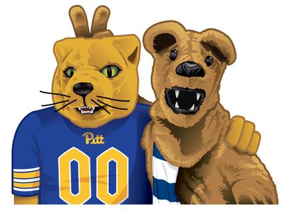 Pitt/PSU Mascots Illustration