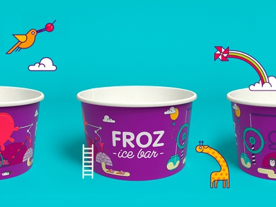 Froz ice cream logo icecream packagedesign packaging package illustration graphic design branding identity logo
