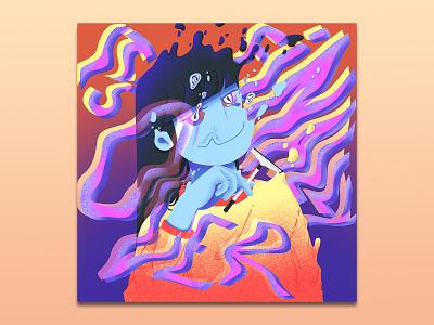 It's Finally Over wavy album cover album art typography art typography gradient digital design character design illustration character digitalart