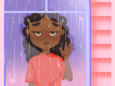 Rain rain, go away... rain window sailor moon purple pink character design gradient digital design illustration digitalart character