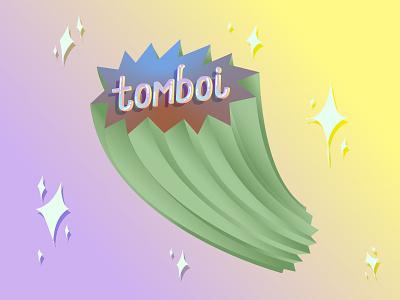 Tomboi blue tomboy sparkles queer green yellow purple typography gradient illustration