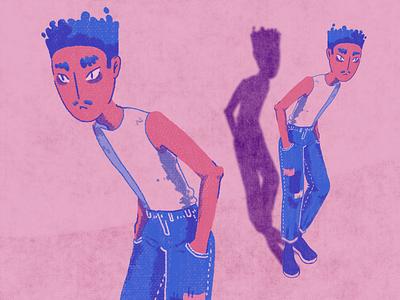 Loneli Boi lonely texture blue pink digital design characterdesign digitalart character illustration