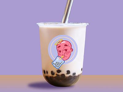 Boba Boi drink packaging boba tea pink purple bubble tea mascot design characterdesign digital design gradient digitalart character illustration