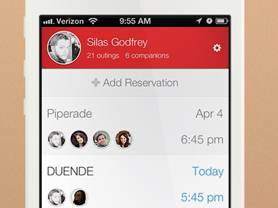 Reservations List ios ui ux photoshop mobile reservations app