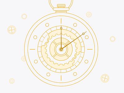 Pocket Watch Illustration pocketwatch time watch godfrey schedule gears sketch illustration goodtime