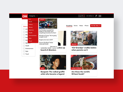 ThirtyUI Challenge #3 -  CNN Search Results Page web design user interface user experience thirty ui challenge adobe xd web ux ui product homepage design