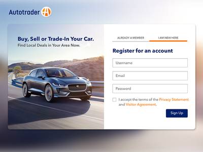ThirtyUI Challenge #4 - Autotrader's Sign Up Page web design user interface user experience thirty ui challenge web ux ui product homepage design photoshop sketch
