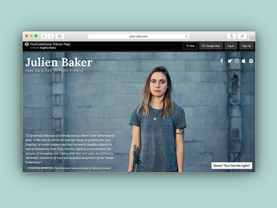 freeCodeCamp | Julien Baker Tribute Page web development web design bootstrap css html coding web ui freecodecamp homepage design photoshop