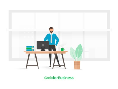 Grab4business_Working in happy mode :) businessman working desk coffee books plants imac tie suit working professional working grab vector design illustration photoshop