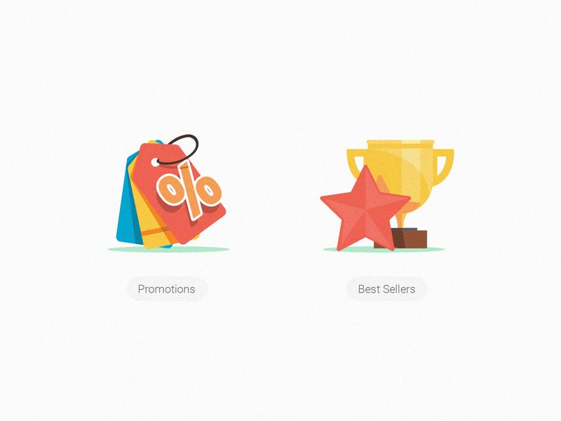 GrabFood Category Icons_Promotions & Best Sellers illustration grabfood grab winner trophy star best bestseller label tag promotion promo