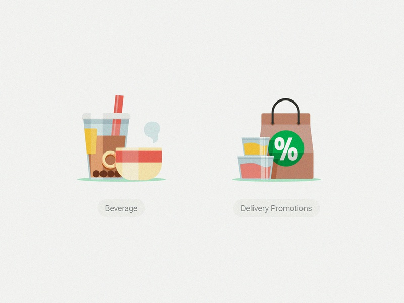 GrabFood Category Icons_Beverage & Delivery Promotion food grabtaxi grab grabfood packaging plastic bowl discount delivery straw coffee milktea beverage