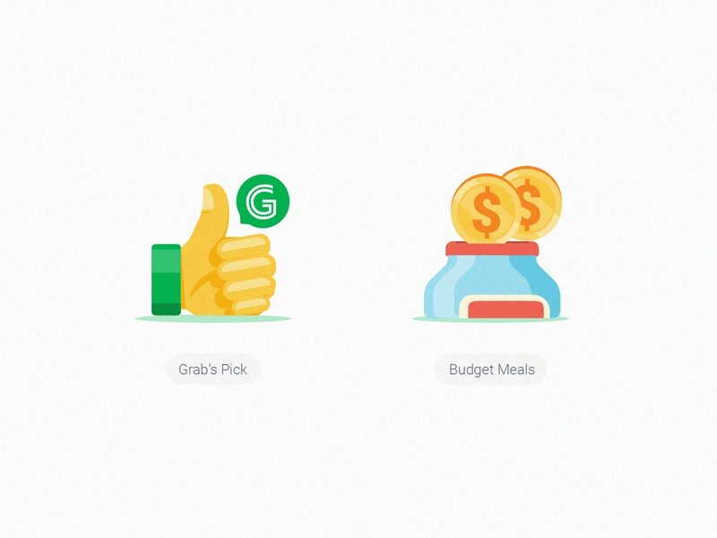 GrabFood Category Icons_Grab's Pick & Budget choices bottle illustrstion grabfood grabtaxi thumb thumbup coin budget saving recommendation grab