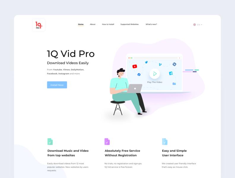Landing page for the browser add-on webdesign website desktop design addon sketchapp video landing design landing page