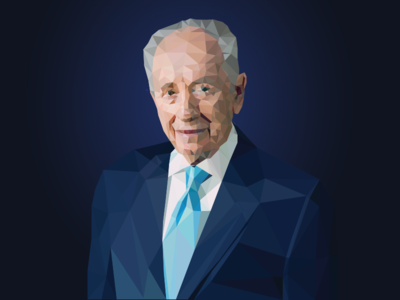 Low-Poly Shimon Peres Portrait II lo-poly low-poly low poly portrait vector shimon peres