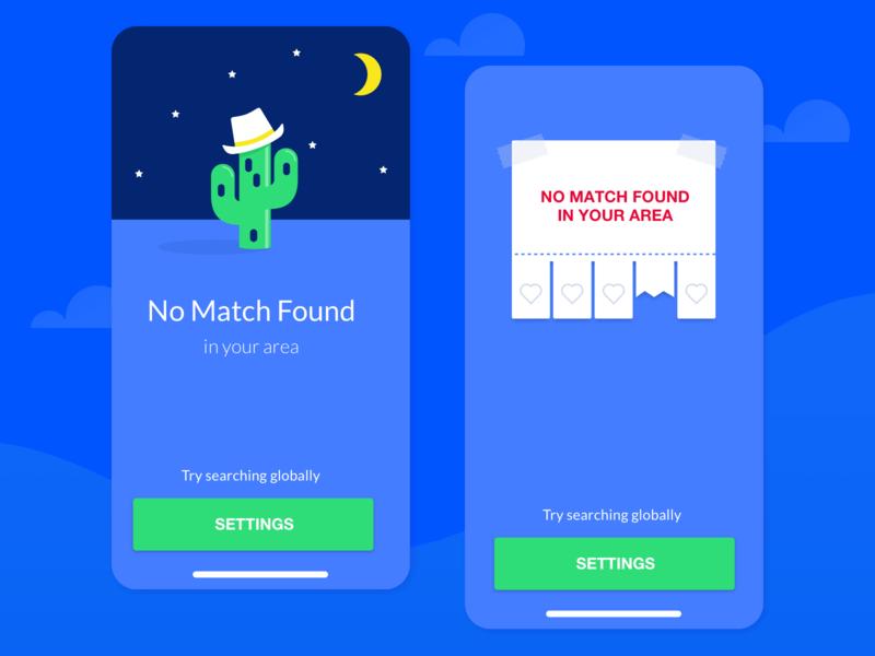 HOTSHOT — No match found screen options videochat datingapp dating cute funny fun cartoon interface app mobile uiux screen not found