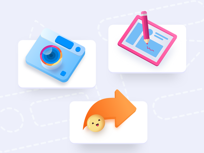 Icons for product page isometric perspective graphicdesign icons camera icon screenshot illustration edit share camera