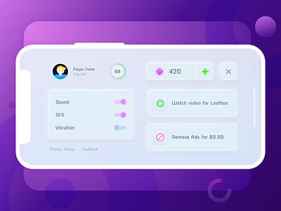 Neomorphic menu screen design for hyper casual game neomorphic neomorphism options menu design menu minimalism userinterface game skeuomorphic uiux ui