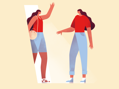 Rentrée characters character design hello world illustration women holidays