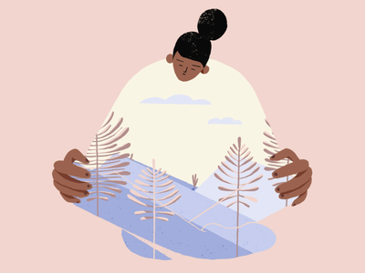 Meditation sleep fullness meditation app plénitude lockdown confinement insideout landscape mountain characterdesign woman sleeping meditation