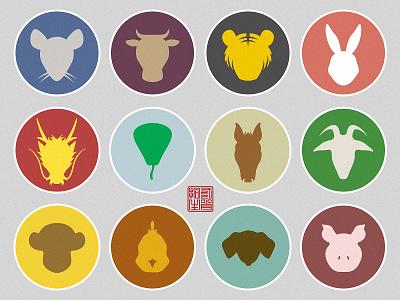 Chinese Zodiac icon animal chinese zodiac graphic design flat