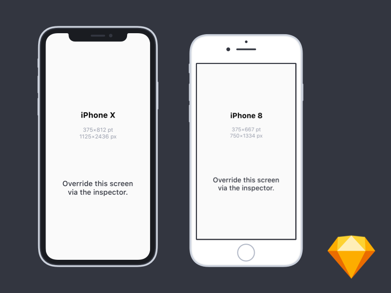 Flat iPhone X and iPhone 8 Mockups for Sketch by Taylor Hu ...