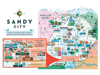 Sandy City utah buildings city sandy city illustration sandy map