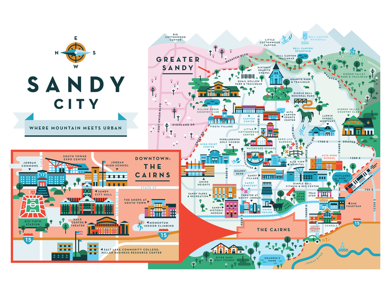 Sandy City utah buildings city sandy city illustration sandy map
