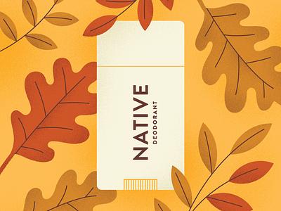 Native—Fall Seasonals plants nature texture oak illustration autumn fall leaves deodorant native